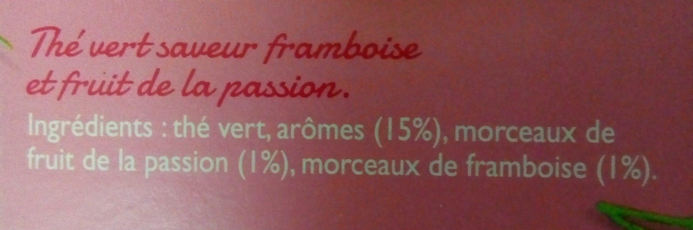 Thé vert framboise passion - Ingrediënten