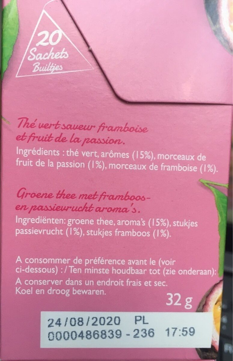 Thé vert framboise passion - Informations nutritionnelles - fr