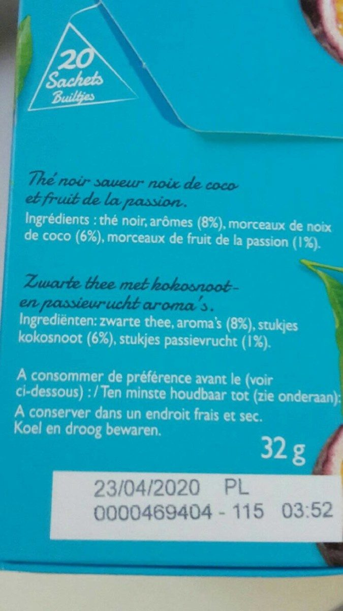 Thé coco passion - Voedingswaarden - fr