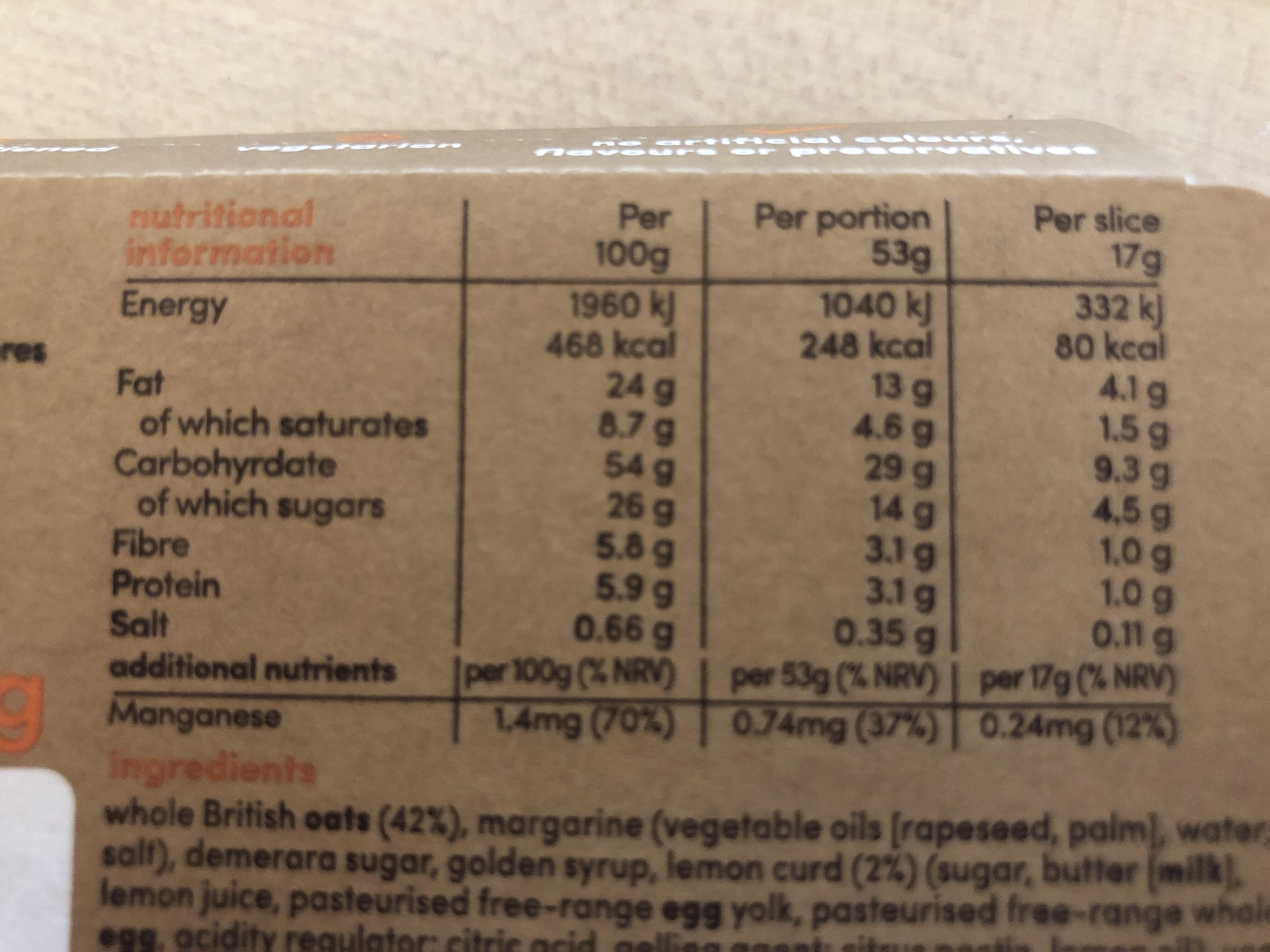 Lively Lemon Flapjack - Informations nutritionnelles - en