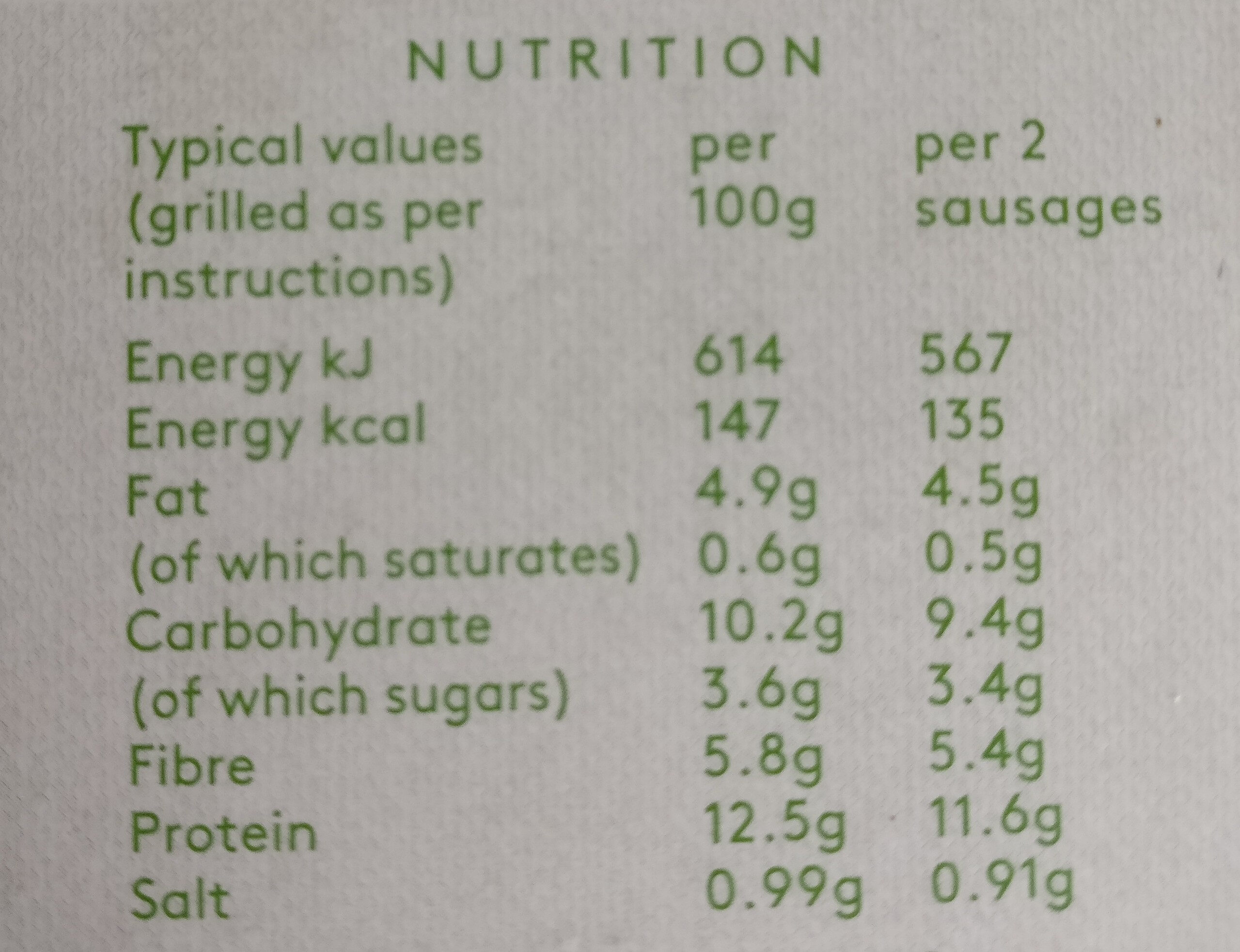 Linda McCartney Vegetarian Chorizo & Red Pepper Sausages - Nutrition facts