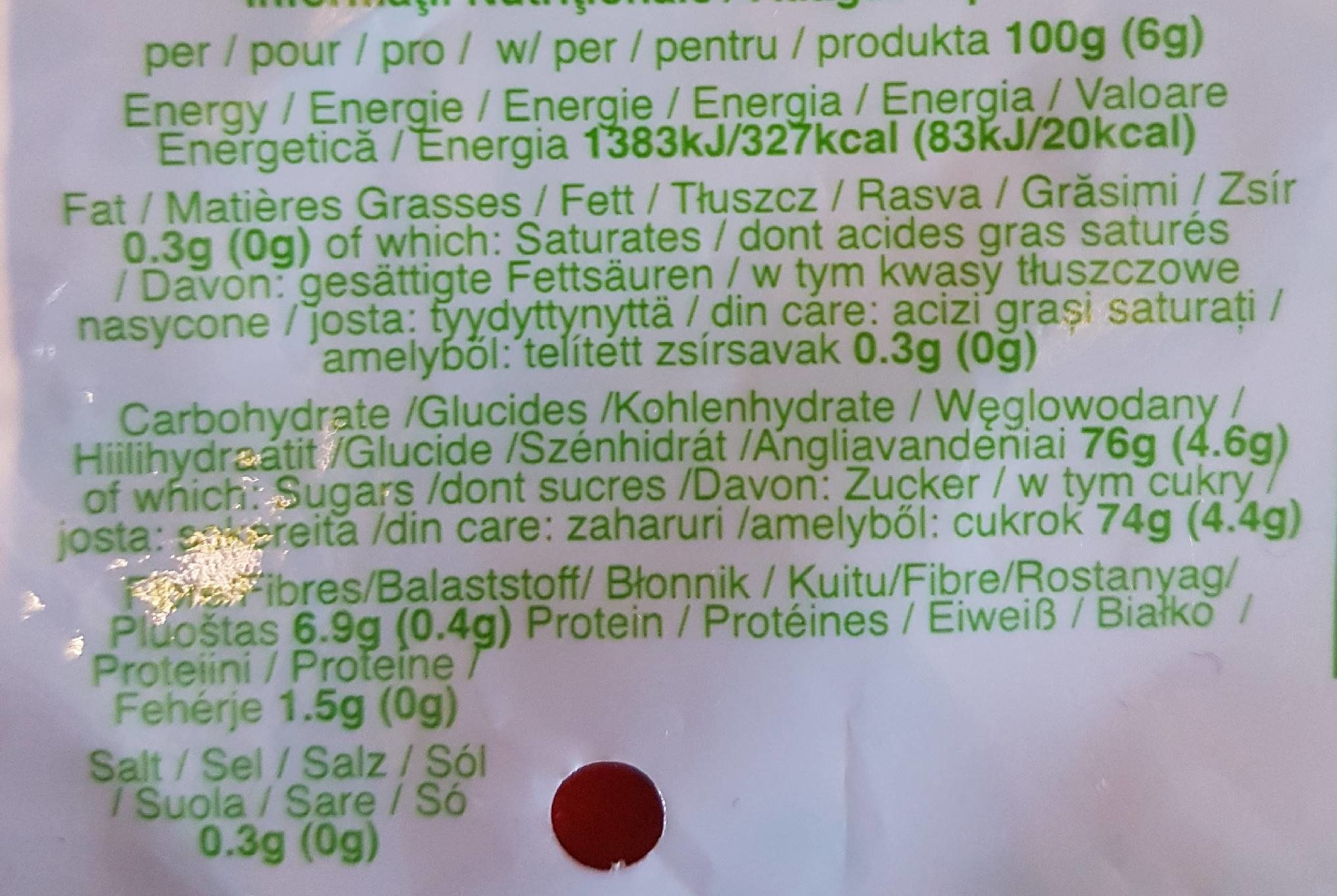 Fruitickles Bag Frozen - Nutrition facts