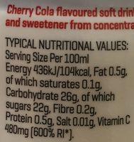 Water Enhancer, Wasseraroma Cherry Cola - Voedingswaarden - en