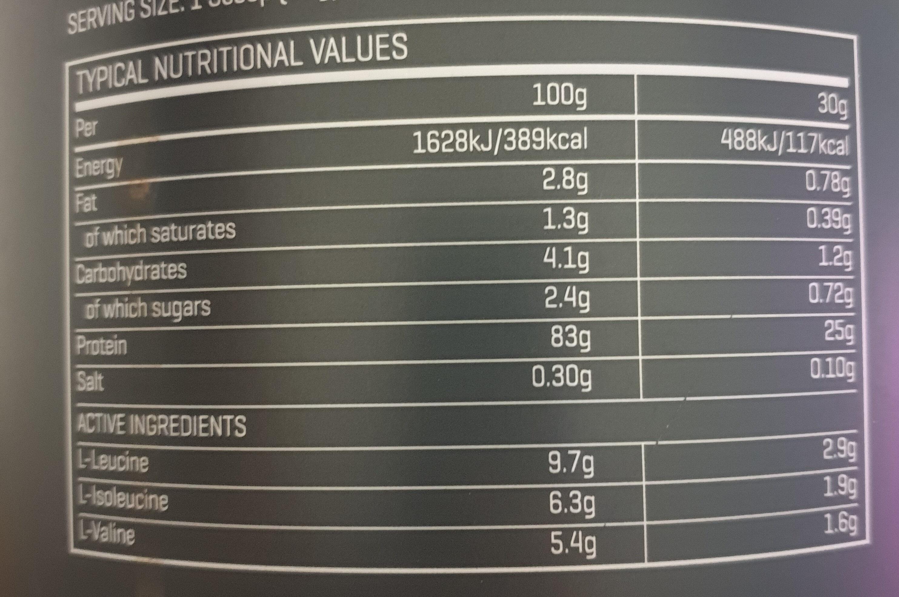 The Whey - Información nutricional