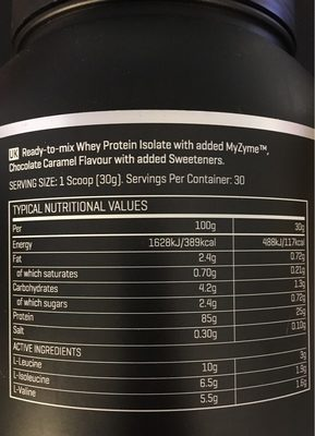 The Whey Chocolate Caramel, the Whey - Nutrition facts - fr
