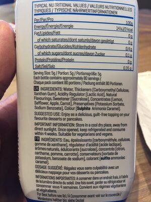 Sugar-Free Syrup Golden Syrup Flavour - Ingrédients