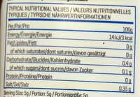 Sugar-Free Syrup Golden Syrup Flavour - Informations nutritionnelles