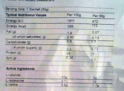 THEWHEY Caramel salé - Informations nutritionnelles