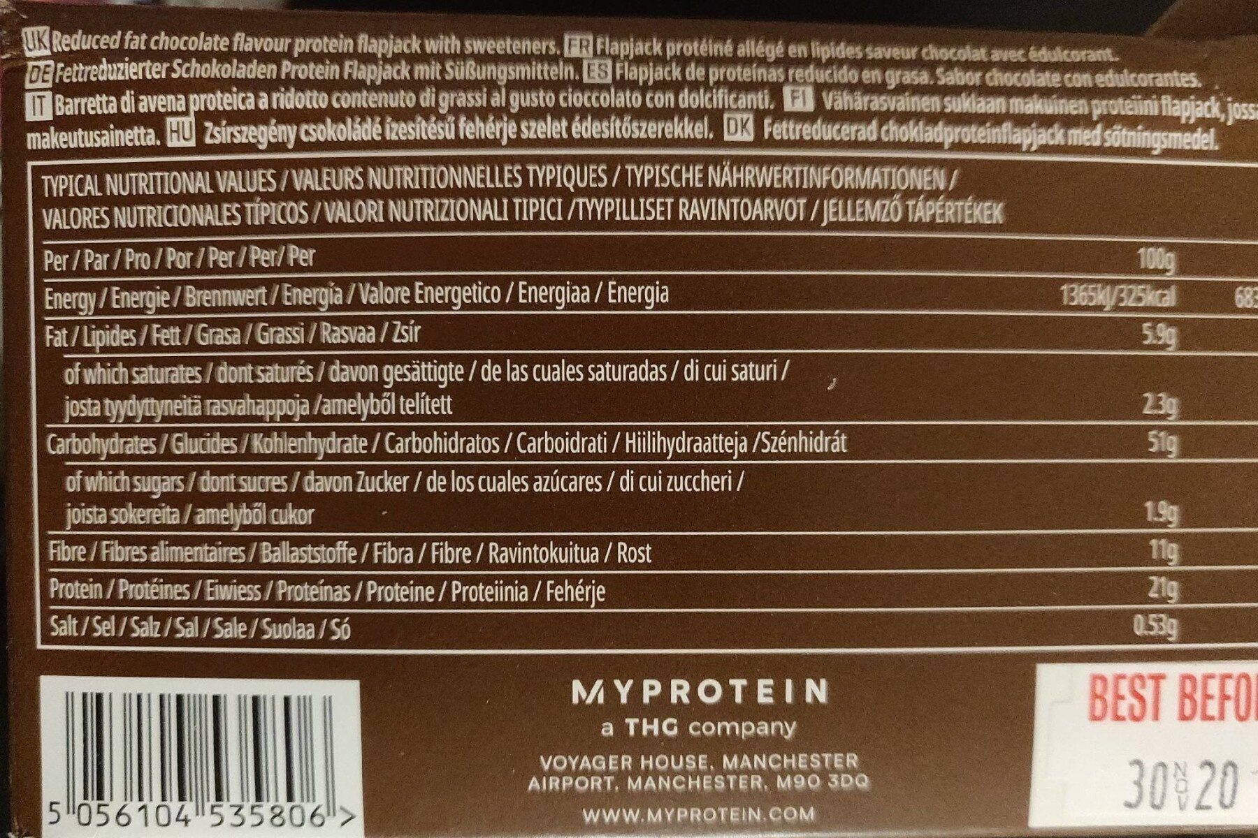 LEAN Flapjack low sugar high fibre chocolate - Nutrition facts - fr