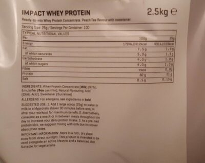 Impact Whey - Informations nutritionnelles - fr