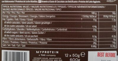 Lean Brownie, Chocolate - Informations nutritionnelles - fr