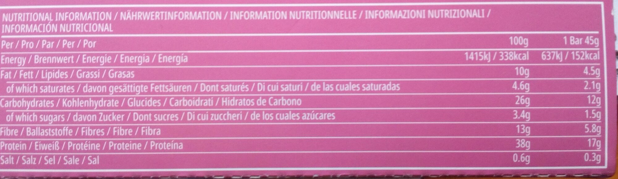 Skinny Protein Bar - Nutrition facts