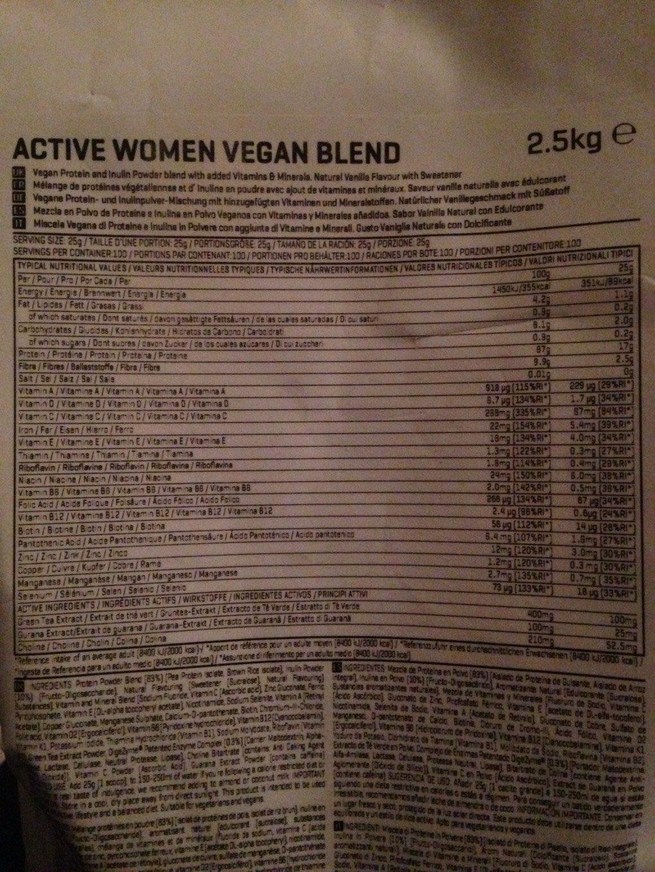 Active women vegan blend - Informations nutritionnelles