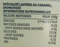 Miam caramel pointe de sel - Nutrition facts