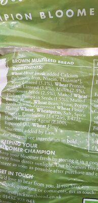 Super Seeded Brown Bloomer - Ingrédients - en