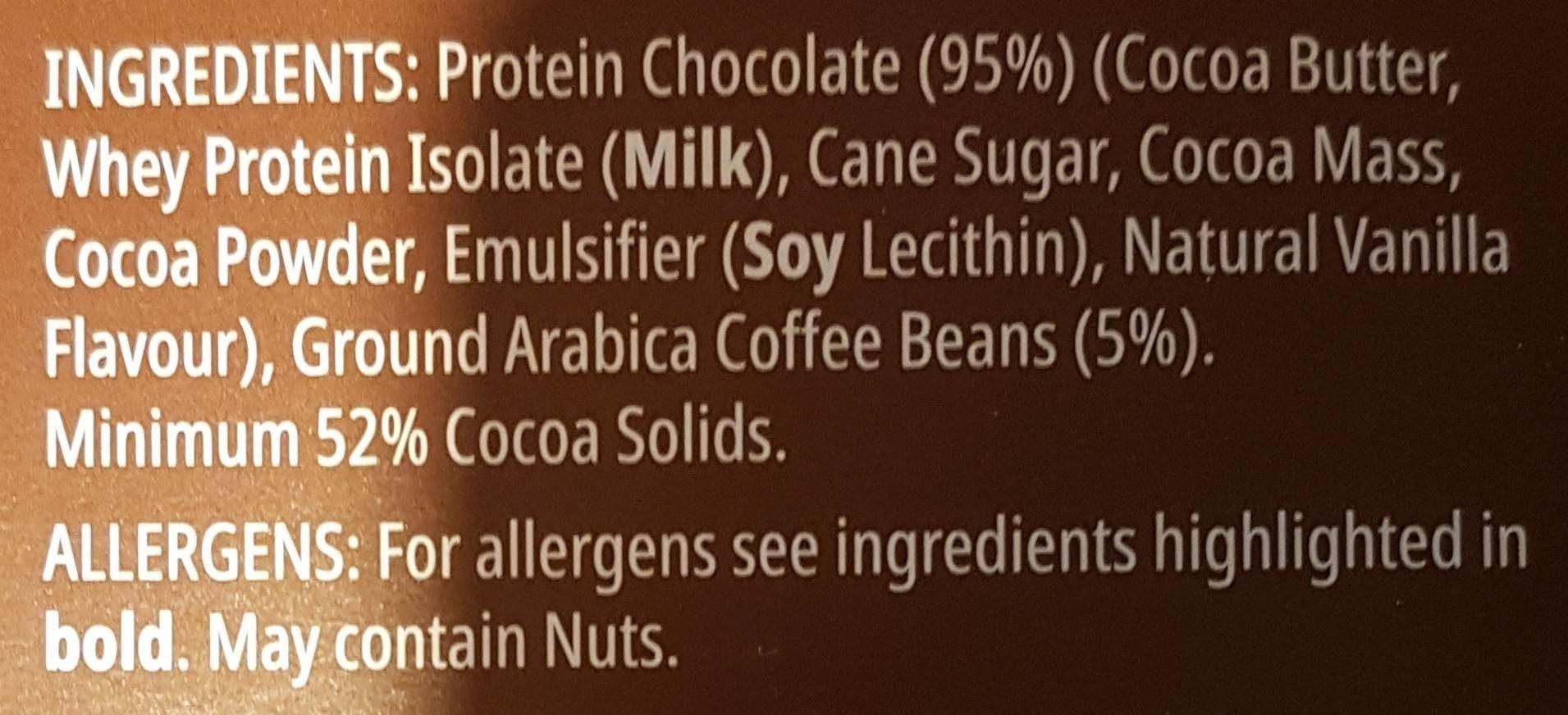 Protein Chocolate Espresso - Ingrédients