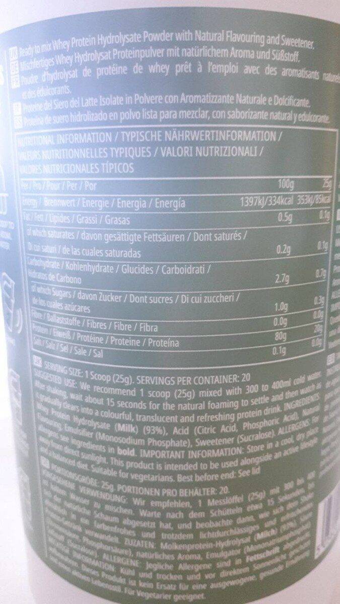 Clear Whey Isolate - bitter lemon - Nutrition facts