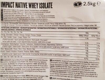 Impact Native Whey Isolate - Información nutricional - es