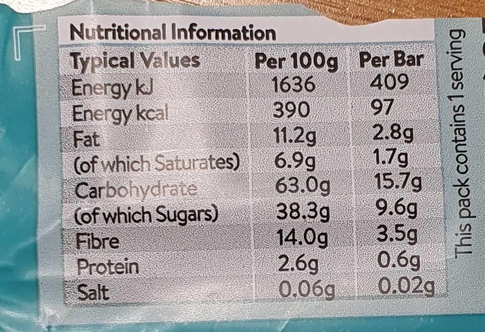 Mint & Dark Chocolate Snack Bar - Nutrition facts - en
