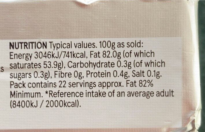Irish creamery butter unsalted - Nutrition facts - en