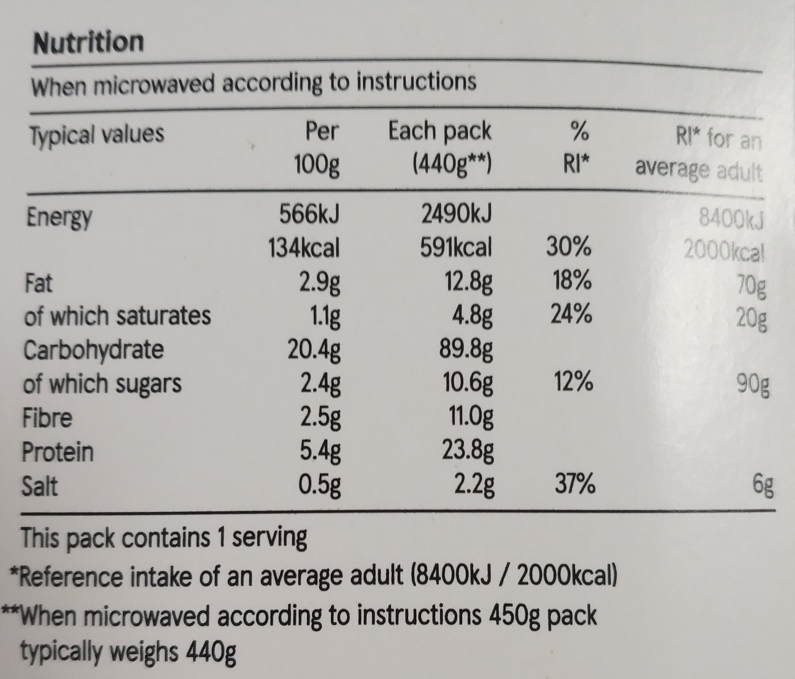 spicy beef chilli and rice - Nutrition facts