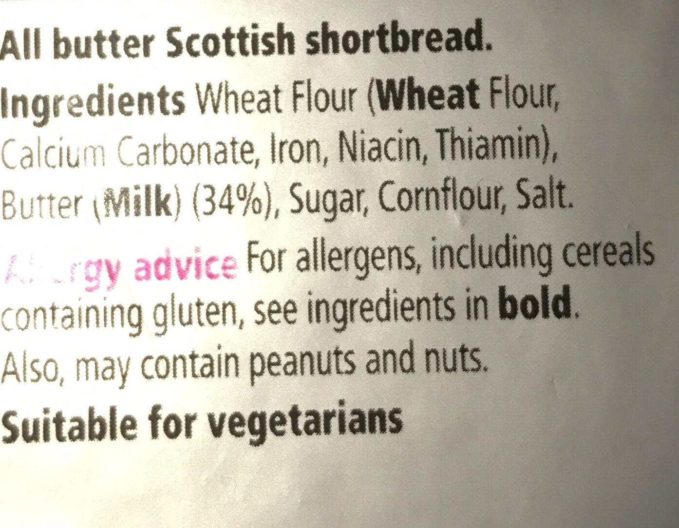 All Butter Shortbread Fingers - Ingrédients - en