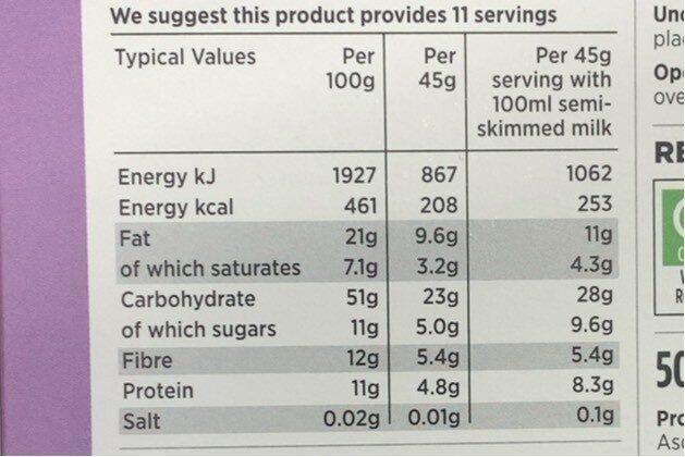 Chocolate & Almond Granola & Grains - Informations nutritionnelles - en