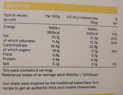Vanilla Cheesecake - Valori nutrizionali - en
