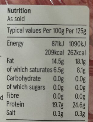 British beef steak mince 15% fat - Informations nutritionnelles - en