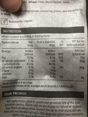 Garlic & Parsley Ciabatta - Informations nutritionnelles - en