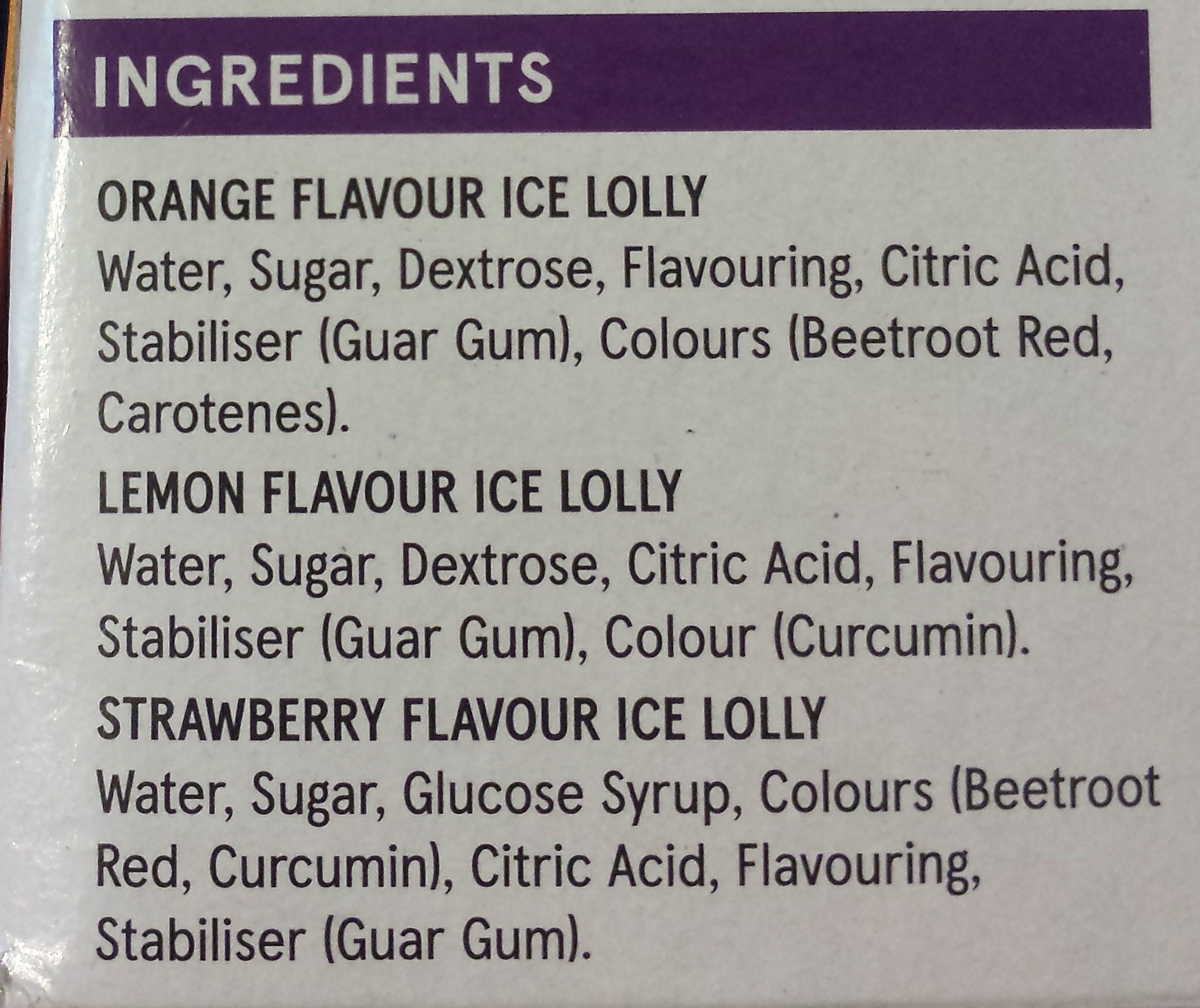 Fruit Flavoured Ice Lollies - Ingrédients