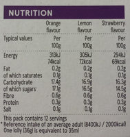 Fruit Flavoured Ice Lollies - Informations nutritionnelles