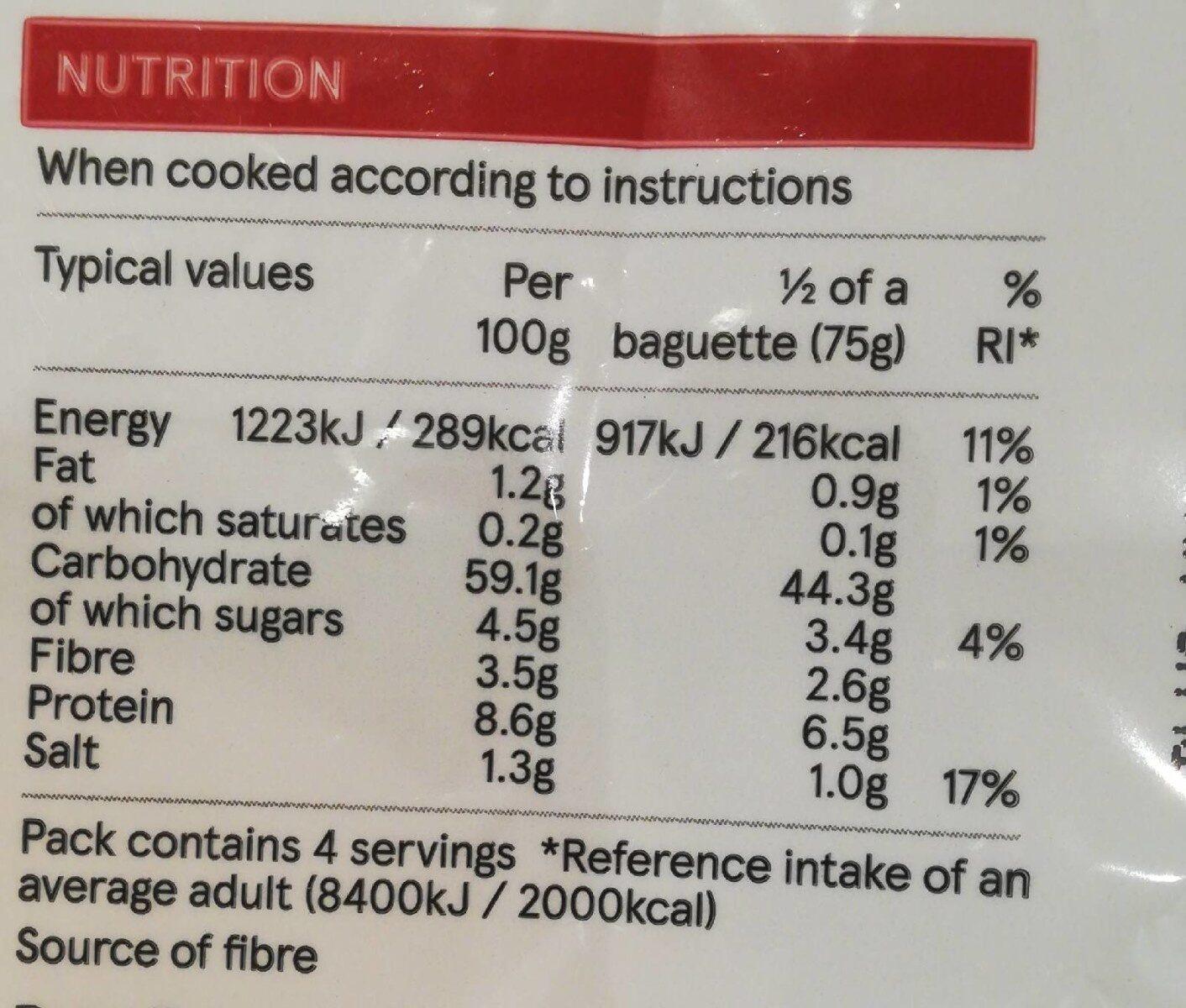 Baguettes - Nutrition facts - en