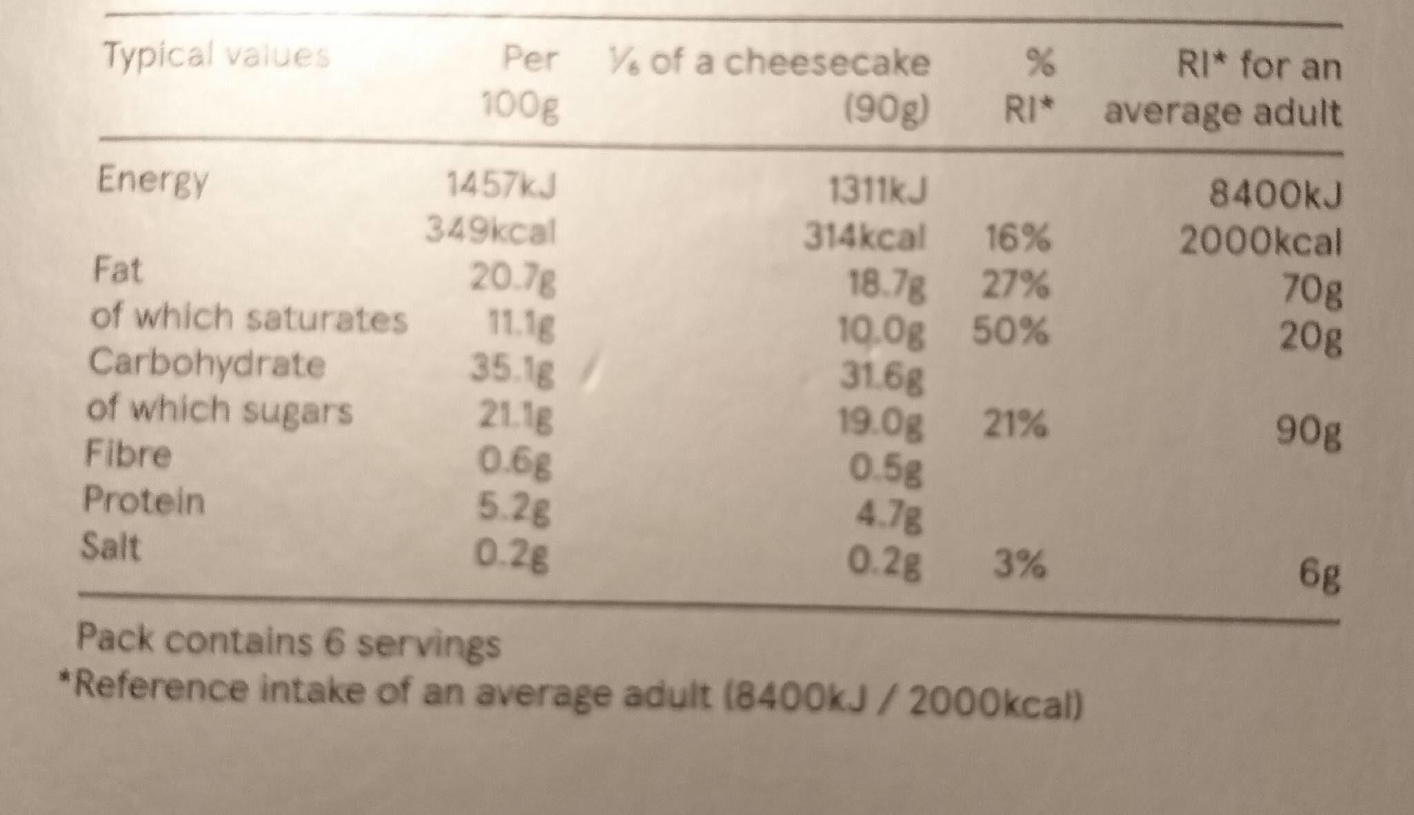 Tesco finest Madagascan vanilla cheesecake - Valori nutrizionali - en