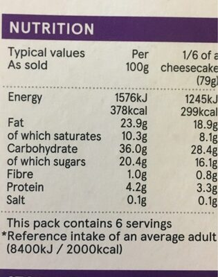Vanilla cheesecake - Nutrition facts