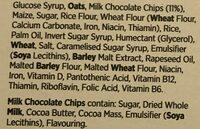 Chocolate chip cereal bars - Ingrédients - fr