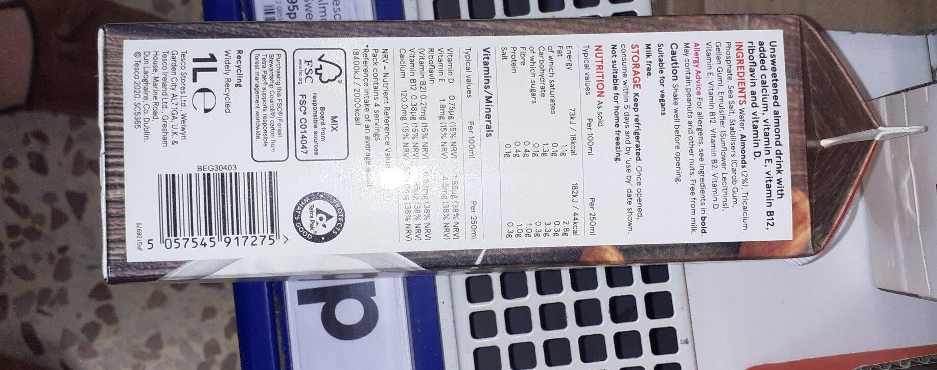 Almond drink - Ingredientes - en