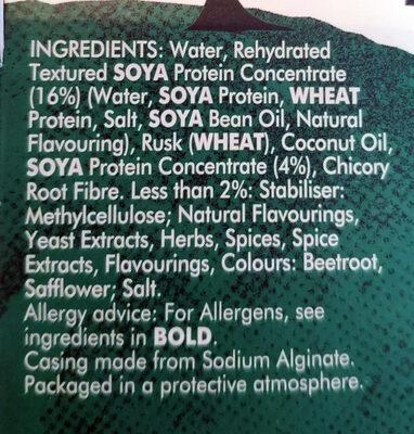 Meat-free sausages - Ingredients - en
