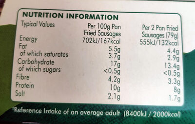 Meat-free sausages - Nutrition facts - en