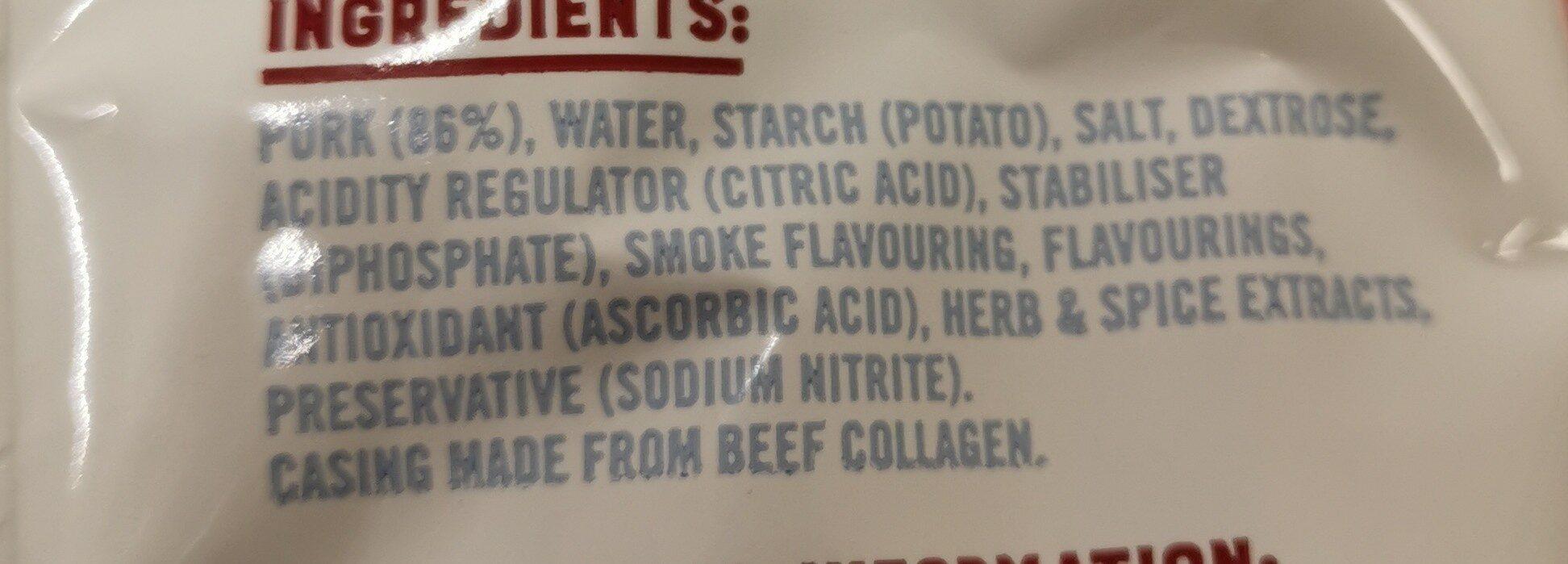 Smoked pork sausage reduced fat - Ingredients - en