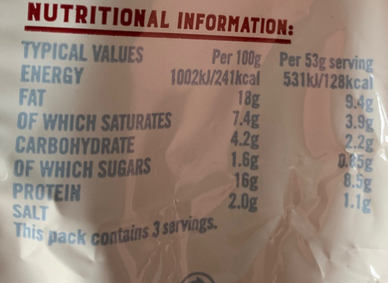 Smoked pork sausage reduced fat - Nutrition facts - en