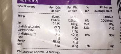 Extra Mature white cheddar - Nutrition facts