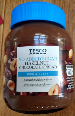 Tesco No added sugar. Hazelnut chocolate spread - Product