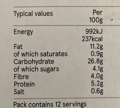 Vegetable snack selection - Nutrition facts - en