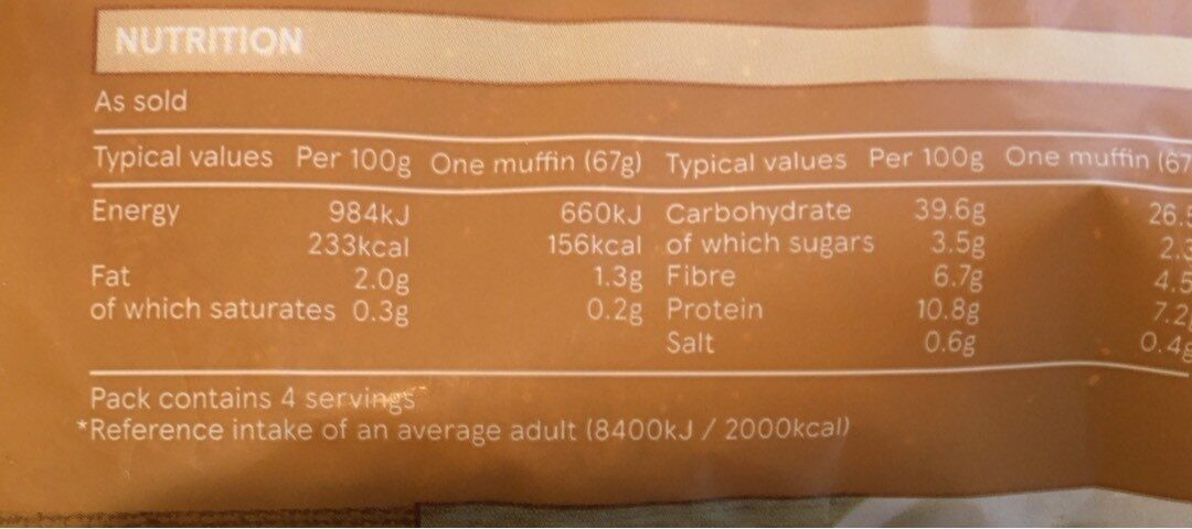 Wholemeal English Muffins - Informations nutritionnelles - en