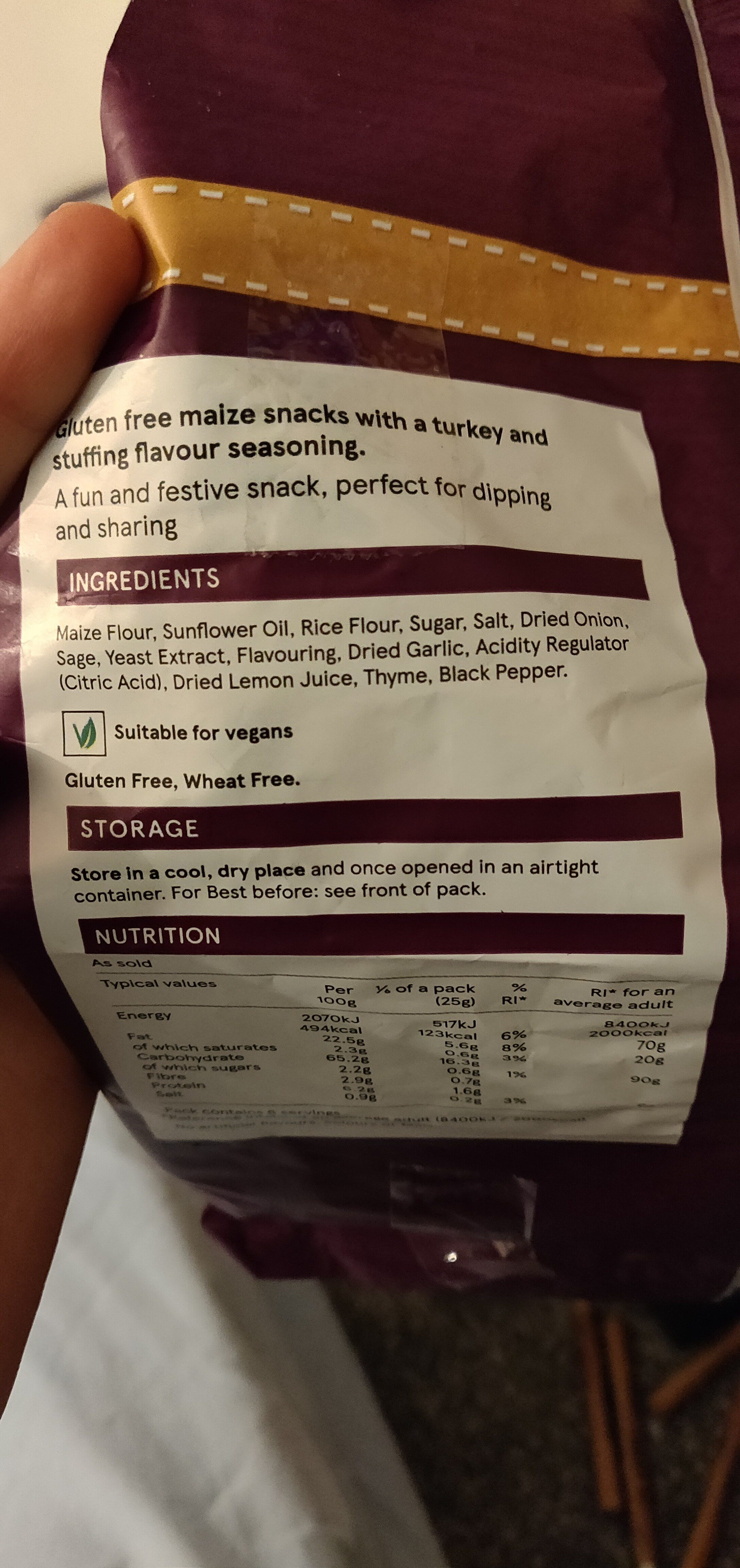 Free from Turkey & stuffing tortilla chips - Ingrédients - en