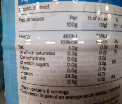 Tuna chunks in spring water - Voedingswaarden
