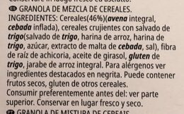All-Bran Prebiotic Granola - Ingredients - es