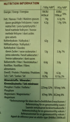 Plant Protein Crunchy Müsli Dark Choco & Coconut - Valori nutrizionali - fr