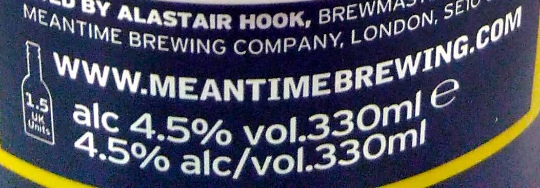 meantime London lager - Nutrition facts